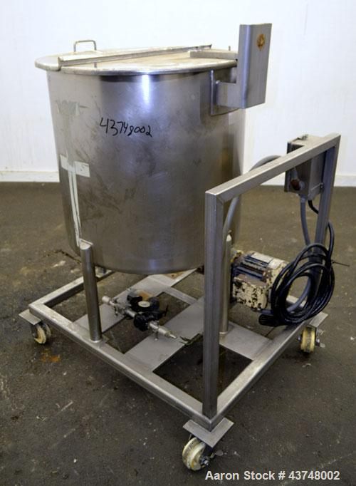 "Used- Walker Stainless Tank, 80 Gallon, 316 Stainless Steel, Vertical. 30"" Diameter x 29"" straight side. Open top with a 2 p..."
