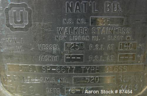 """USED: Walker Stainless Pressure Tank, 120 gallon, 304 stainless steel, vertical. 30"""" diameter x 37"""" straight side, dish top ..."""