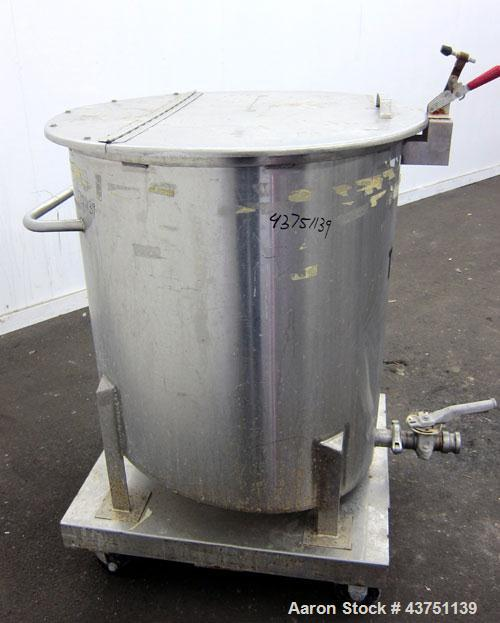 """Used- Water Cooling Corporation Tank, 100 Gallons, 304 Stainless Steel, Vertical. Approximately 31"""" diameter x 34"""" straight ..."""
