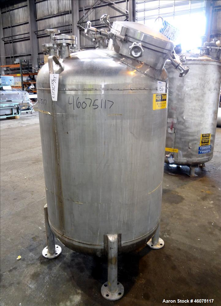 "Used- Watson Metal Masters Pressure Tank, 250 Gallon, 316L Stainless Steel, Vertical. 40"" Diameter x 42"" straight side, dish..."