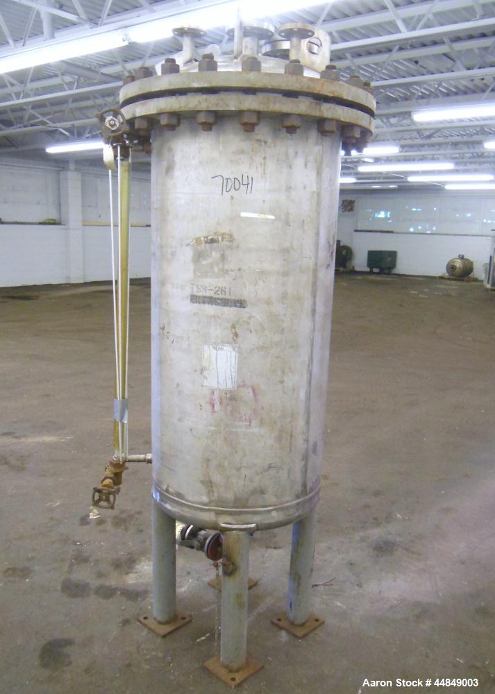 """Used- Whiting Metals Pressure Tank, 100 gallon, 304L Stainless Steel, Vertical. 24"""" diameter x 48"""" straight side, dished bol..."""