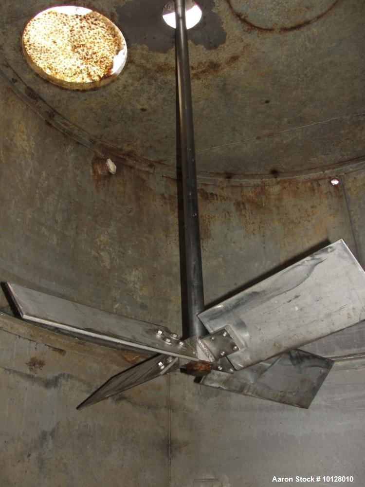 "Used-4200 Gallon Stainless Steel Conical Bottom Tank.  The stainless steel tank has a 96"" straight side height, an 8"" conica..."