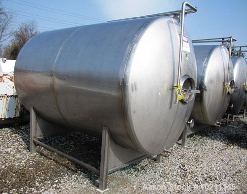 Used-Tank, 1800 Gallons, Stainless Steel, Horizontal.  Sanitary fittings, internal CIP spray ball.  Side manway with cover. ...