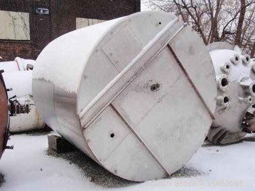 "Unused-3000 gallon Tolan tank, stainless steel, 8' diameter x 8'6"" straight side, flat bolt on top, slight dish bottom, 2"" c..."