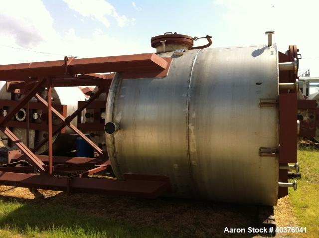 """Unused-4200 Gallon 316 Stainless Steel Vertical Tank.  8'0"""" Straight wall, overall height with legs 25'3-3/8"""", 9'0"""" ID, (4) ..."""