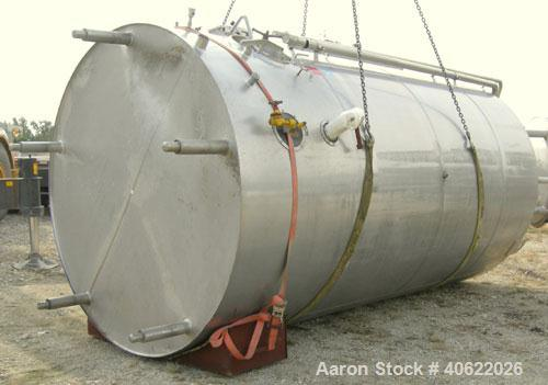 """Used-DCI tank, 4500 gallon, 304 stainless steel, jacketed. 89 1/4"""" diameter x 168"""" straight side. Dish top, sloped bottom. 2..."""