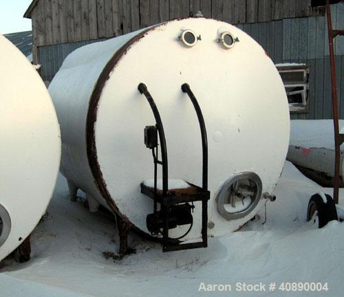 Used-Tank, 3,000 gallon, Stainless steel, approximately 8' diameter x 9' straight side, dished heads, (Dairy). Carbon steel ...