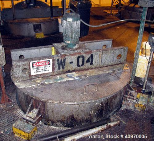 """Used-Mix Tank, 1,000 Gallon, Stainless Steel. Open top with hinged cover, dish bottom.  5' diameter x 74"""" straight side.  (4..."""