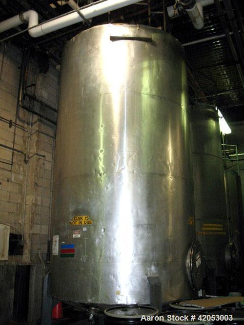 "Used-Tank, 3,600 Gallon, 316 Stainless Steel, Vertical, 7' diameter x 15' 6"" high, Shell Thickness-0.105, Head Thickness-0.1..."