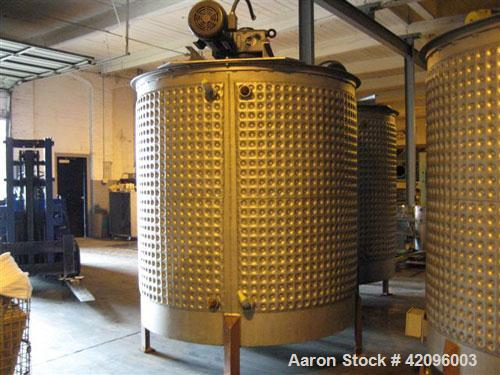 "Used- Open top 1200 gallons jacketed mixing tank 74"" deep x 68"" diameter, tapered bottom with a 3"" drain stainless steel, st..."
