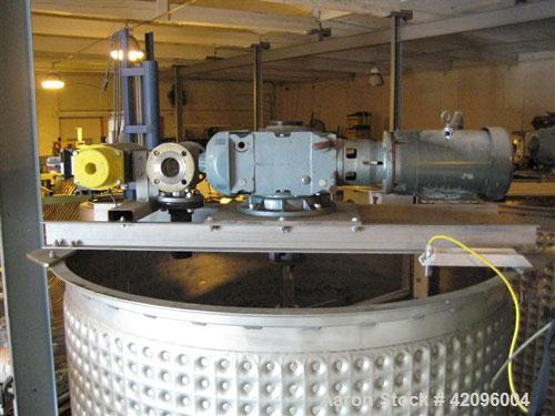 """Used- Open top 1200 gallons jacketed mixing tank 74"""" deep x 68"""" diameter, tapered bottom with a 3"""" drain stainless steel, st..."""