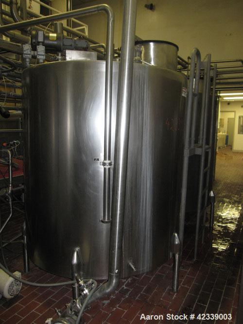 "Used-Tank, 1,100  Gallon, stainless steel, 66"" diameter x 70"" straight side.  Vertical, slight cone top, flat / pitched bott..."