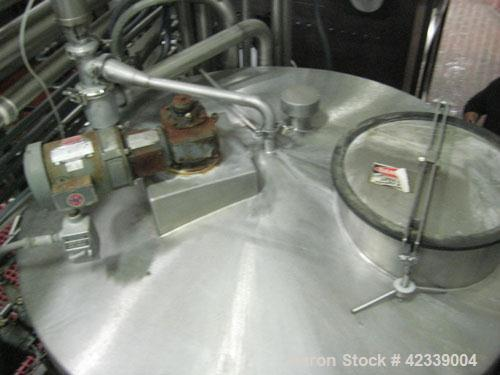 """Used-Tank, 1,100Gallon, stainless steel, 66"""" diameter x 70"""" straight side.Vertical, slight cone top, flat / pitched bottom.T..."""