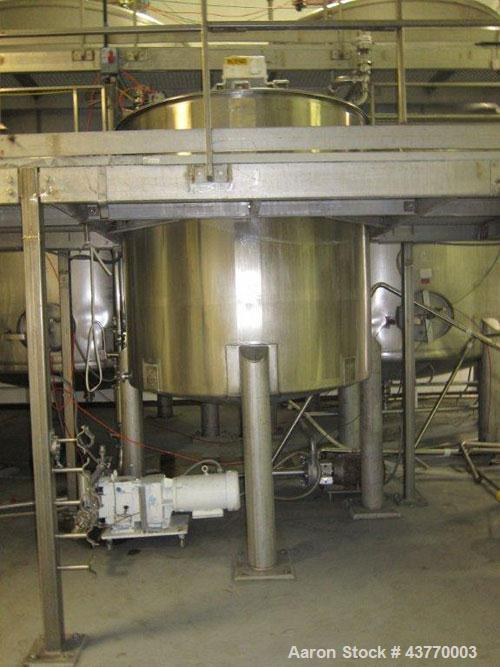 "Used-1000 gallon SS Single Shell hinged lid tank; 72"" x 74""; with vertical agitator, baffle & spray ball"