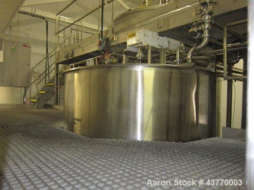 "Used-1000 gallon SS Single Shell hinged lid tank; 72"" x 74""; with vertical agitator, baffle & spray ball"