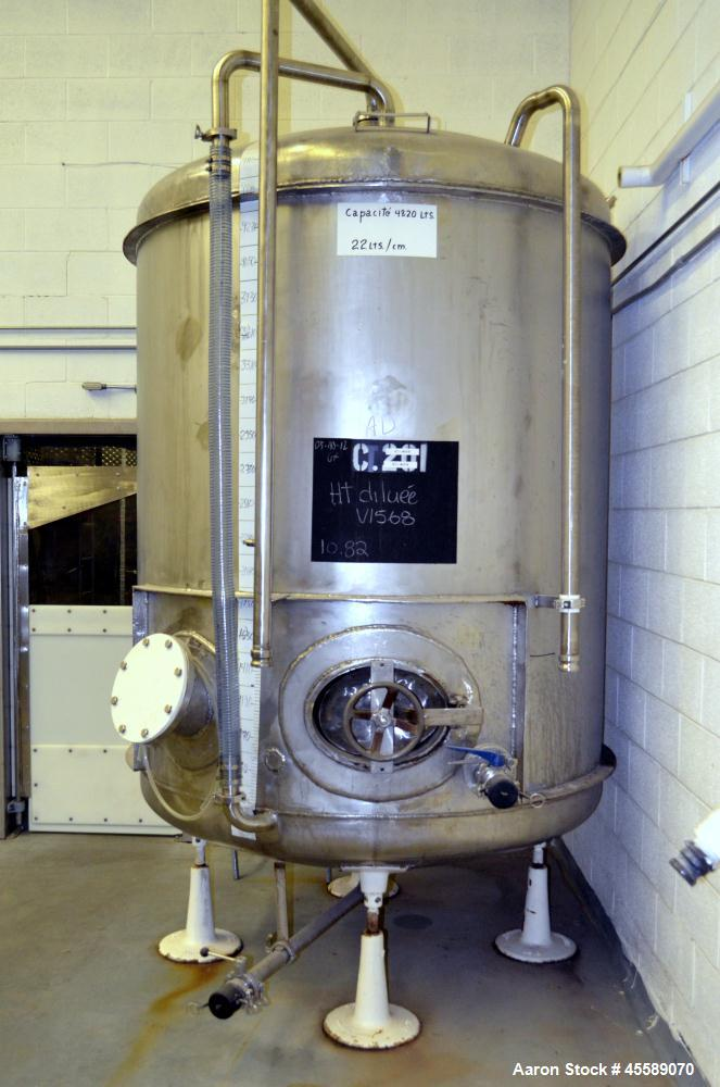 Used- Tank, Approximate 1,000 Gallon, Stainless Steel, Vertical.