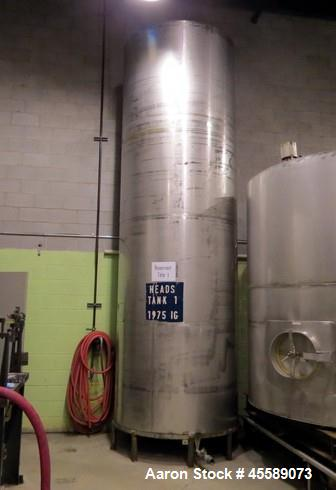 Used- Tank, Approximate 1,500 Gallon, Stainless Steel, Vertical.