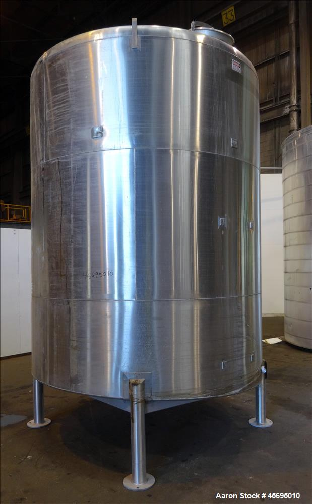 """Used- Tank, 3500 Gallon, 304 Stainless Steel, Vertical. 96"""" Diameter x 115"""" straight side, dished top, sloped bottom. (1) Sp..."""