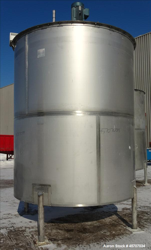 Used- Bright Sheet Metal Tank, Approximately 4,000 Gallon, 304 Stainless Steel,
