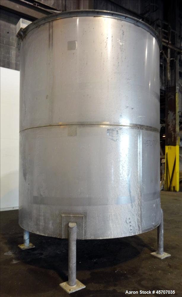 """Used- Bright Sheet Metal Tank, Approximately 4,000 Gallon, 304 Stainless Steel. 100"""" diameter x 120"""" straight side. Cone bot..."""