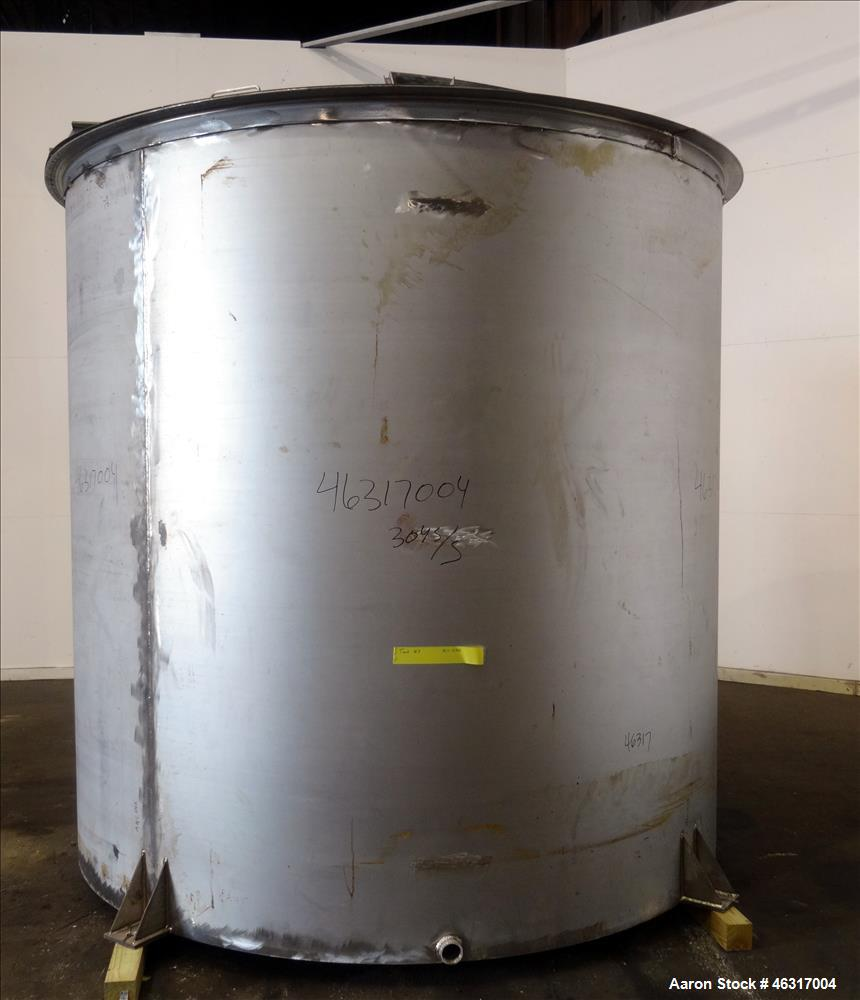 """Unused- Tank, Approximately 3,000 Gallon, 304 Stainless steel, Vertical. Approximately 102"""" diameter x 99"""" straight side. Fl..."""