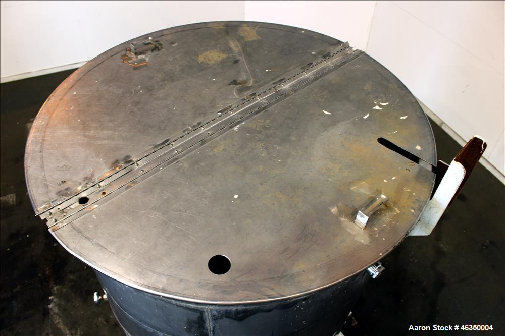 """Used- Tank, Approximate 1,000 Gallon, 304 Stainless Steel, Vertical. Approximate 60"""" diameter x 82"""" straight side. Flat top ..."""