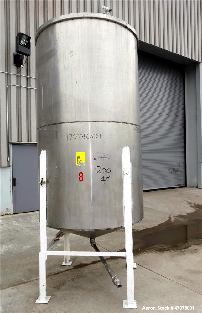 """Used- Tank, Approximate 1,000 Gallon, 304 Stainless Steel, Vertical. Approximate 56"""" diameter x 94"""" straight side. Open top ..."""