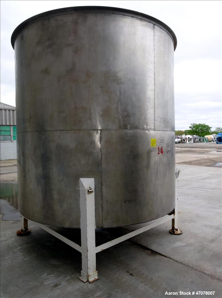 """Used- Tank, Approximate 4,000 Gallon, 304 Stainless Steel, Vertical. Approximate 108"""" diameter x 105"""" straight side. Open to..."""