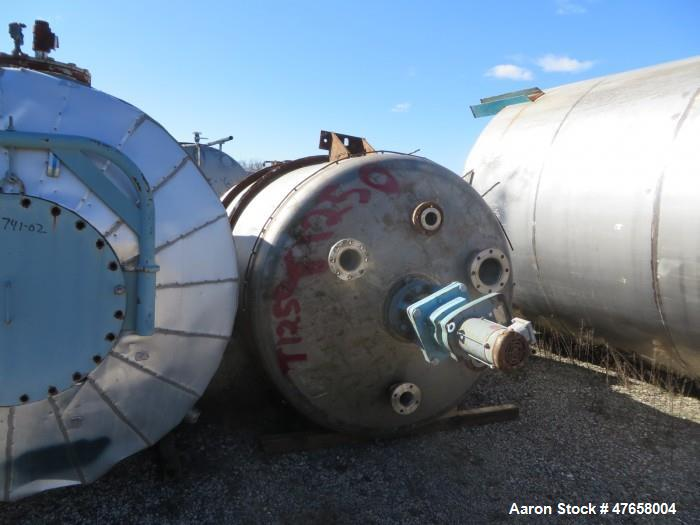 """Used- Toledo Tank, Approximately 2,600 Gallon, 304 Stainless Steel, Vertical. Approximate 72"""" diameter x 135"""" straight side...."""