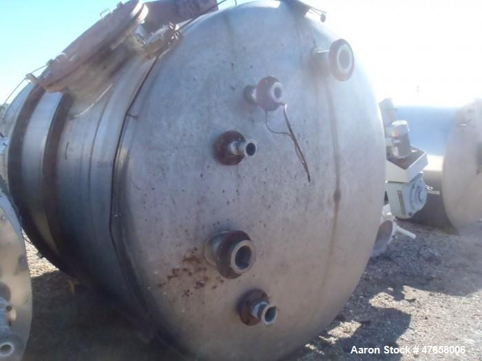 """Used- Falco Tank, Approximately 2,500 Gallon, 304 Stainless Steel, Vertical. Approximate 89"""" diameter x 138"""" straight side. ..."""