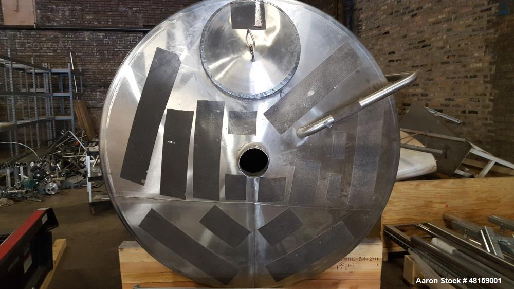 "Used- Tank, 1,269 Gallon. 6 diameter x 6 straight side. 12 8"", Stainless steel. Dish top, Cone bottom. Stainless steel legs...."