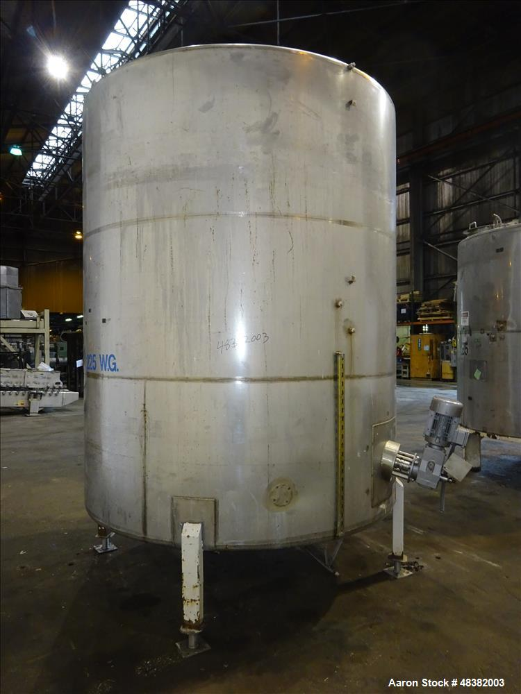 "Used- Tank, 3,000 Gallons, 304 Stainless Steel, Vertical. Approximate 92"" diameter x 108"" straight side, flat top, cone bott..."