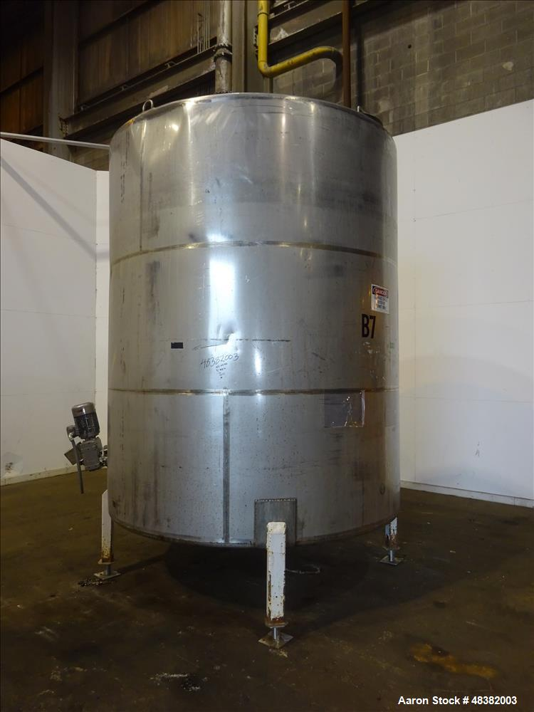 """Used- Tank, 3,000 Gallons, 304 Stainless Steel, Vertical. Approximate 92"""" diameter x 108"""" straight side, flat top, cone bott..."""