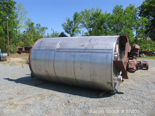 """USED: Tank, 2800 gallon, 304 stainless steel. 6'6"""" diameter x 11'1"""" straight side, open top, dish bottom, non-jacketed. Vert..."""
