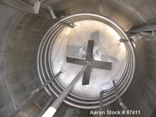 "USED: Tank, 2403 gallon, 316 stainless steel. 6'6"" diameter x 9'7"" straight side, flat top, dish bottom, internal atmospheri..."