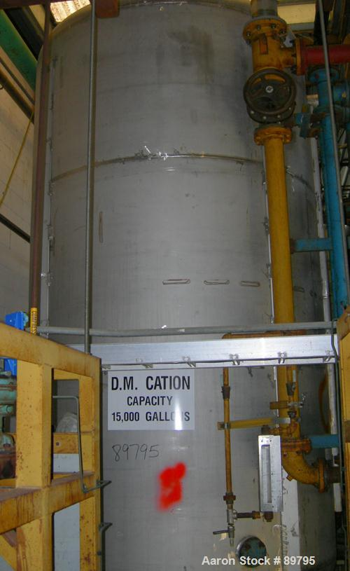 USED: Approximate 3750 gallon stainless steel storage tank. Vertical, dished heads. Approximately 7' diameter x 12' straight...
