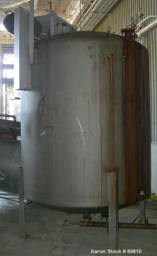 """USED: Approximate 1,800 gallon stainless steel tank. Dished heads. 6'6"""" diameter x 7' straight side. Mounted on (4) I-beam l..."""
