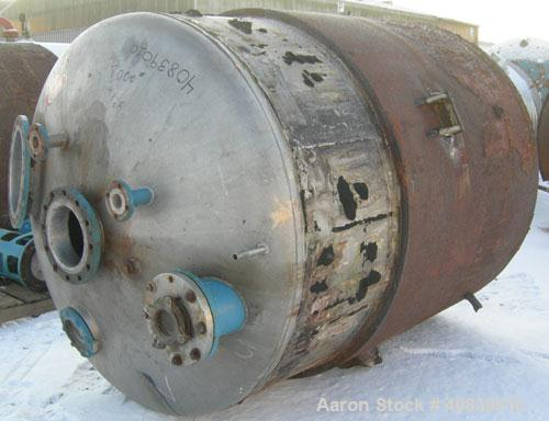 """Used- Acme Tank, 1500 Gallon, 304 Stainless Steel, Vertical. 72"""" Diameter x 84"""" straight side, dished top and bottom. Carbon..."""