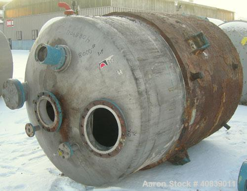 """Used- Acme Tank, 1500 Gallon, 304 Stainless Steel, Vertical. 72"""" diameter x 84"""" straight side. Dish top and bottom. Carbon s..."""
