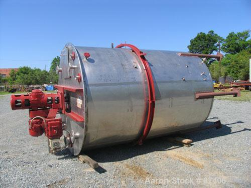"USED: Alloy Craft tank, 2855 gallon, 316 stainless steel. 7'5"" diameter x 10'2"" straight side, flat top with manway, dish bo..."
