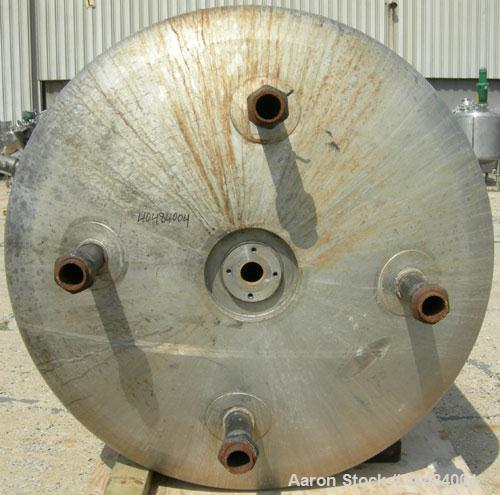 """Used- Apache Stainless pressure tank, 1000 gallon, 304L stainless steel, vertical. 66"""" diameter x 66"""" straight side, dished ..."""