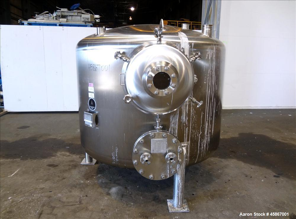 """Used- Apache Stainless Equipment Tank, 1,010 Gallon, 316L Stainless Steel, Vertical. 76"""" Diameter x 44"""" straight side. Dish ..."""