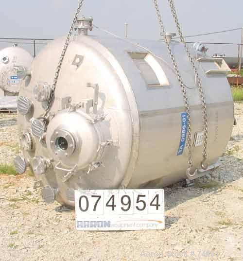 """USED:Apache stainless pressure tank, 1000 gallon, 316 stainless steel, vertical. 66"""" diameter x 64"""" straight side. Dished to..."""