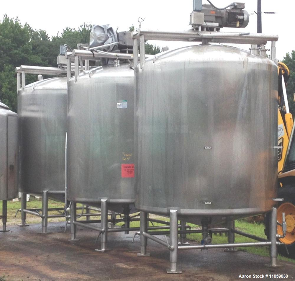 Used- 2000 Gallon Stainless Steel APV Sanitary Construction Sweep Agitated Mix Tanks