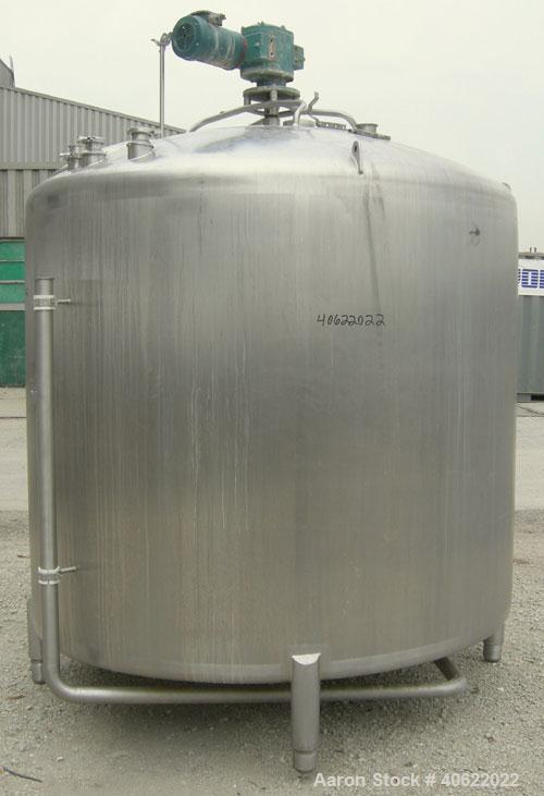 """Used- APV Crepaco Tank, 1500 Gallon, 304 Stainless Steel, Vertical. 84"""" diameter x 66"""" straight side. Dish top, sloped botto..."""