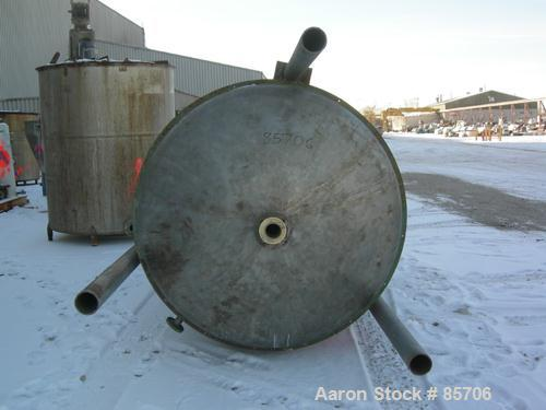 """USED: Blaw Knox 1250 gallon stainless steel vertical tank. 60"""" diameter x 103"""" straight side, dish top and bottom. Internal ..."""