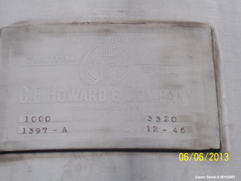 Used- 1000 Gallon Stainless Steel C E Howard Tank