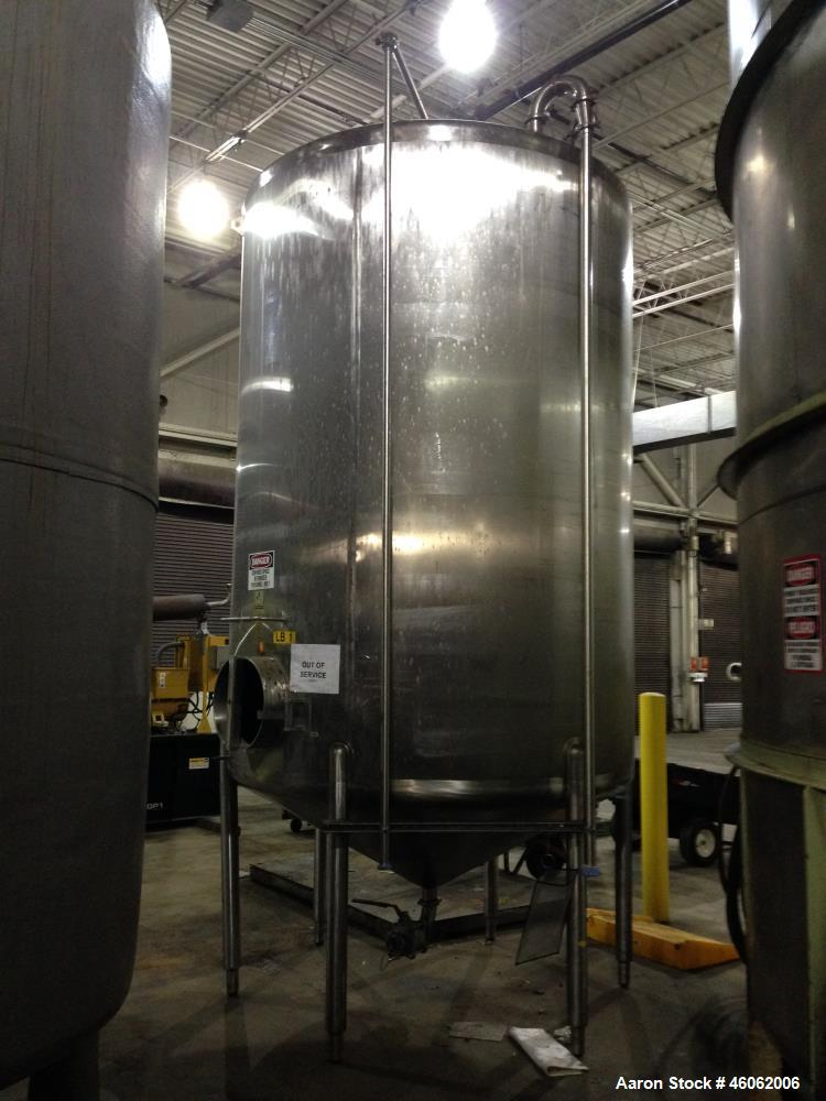 """Used- Cherry Burrell 3000 Gallon Sanitary Stainless Steel Storage Tank. Model/Serial Number - 3000 CVS 87 3022. Approx. 6'6""""..."""