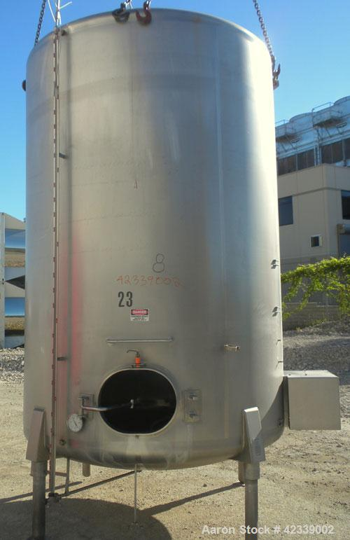 """Used- Cherry-Burrell Tank, 3000 Gallon, 304 Stainless Steel, Vertical. 84"""" Diameter x 116"""" straight side, dish top and botto..."""