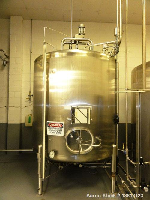 Used-Cherry Burrell 2,000 Gallon Top Agitated Mixing Tank, Model CV.  304 Stainless steel mixing tank with (4) stainless ste...